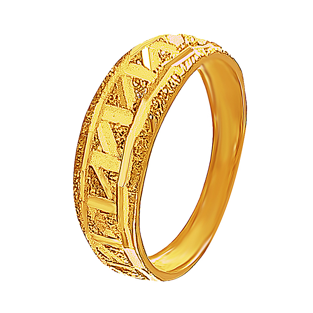 Traditional Zigzag Design 22kt Yellow Gold Ring-379-19599084