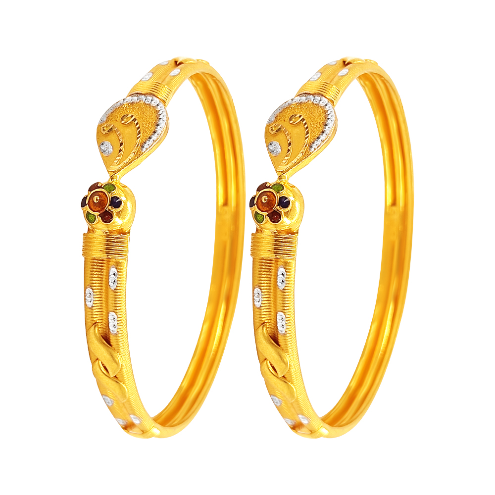 Gold Delicate Traditional Two Tone Gold 22kt Bangle-BN122 BN122-1.jpg