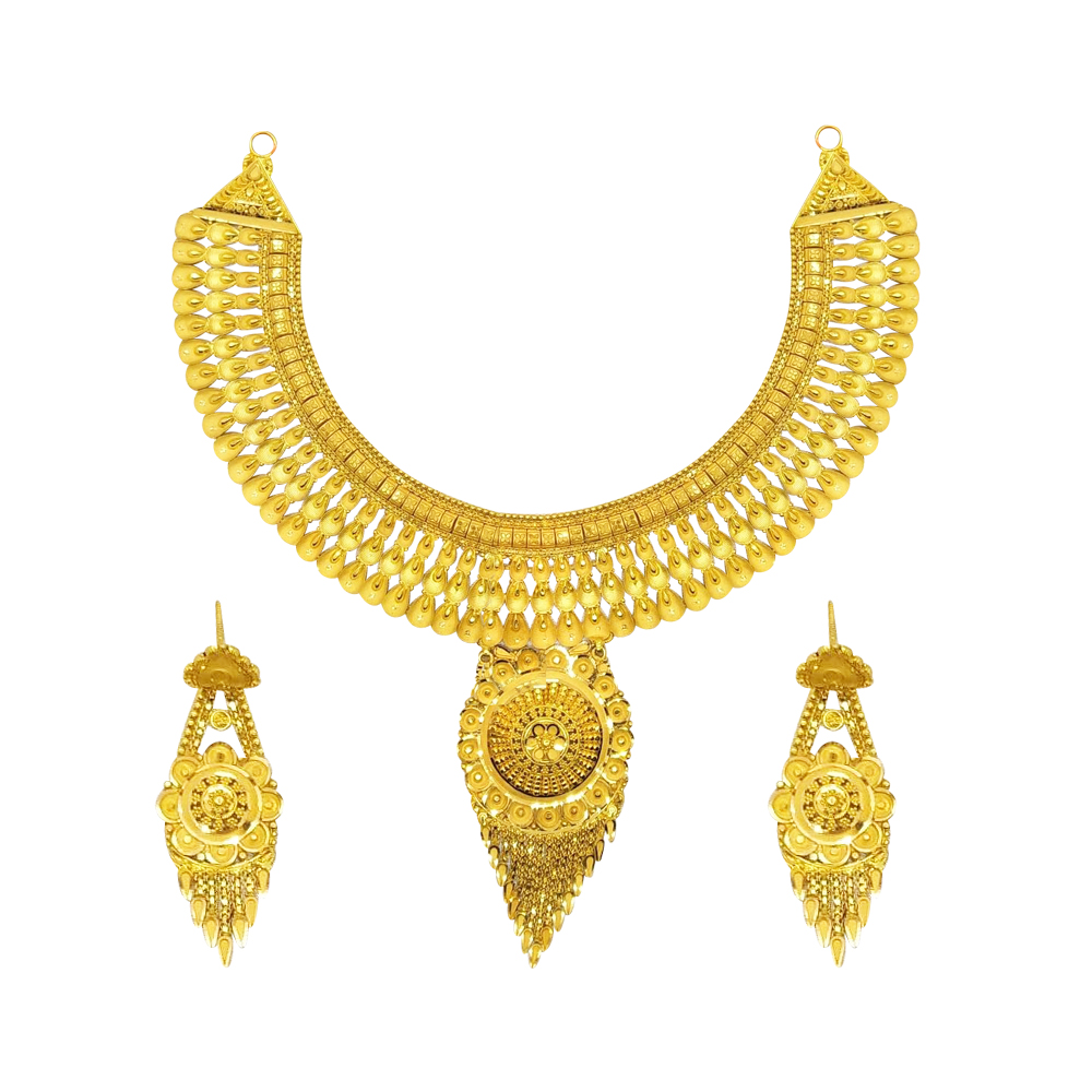 Gold  Traditional Wedding Yellow Gold 22kt with Without Stone Necklace-385-BSKJ01 BSKJ01-1.jpg
