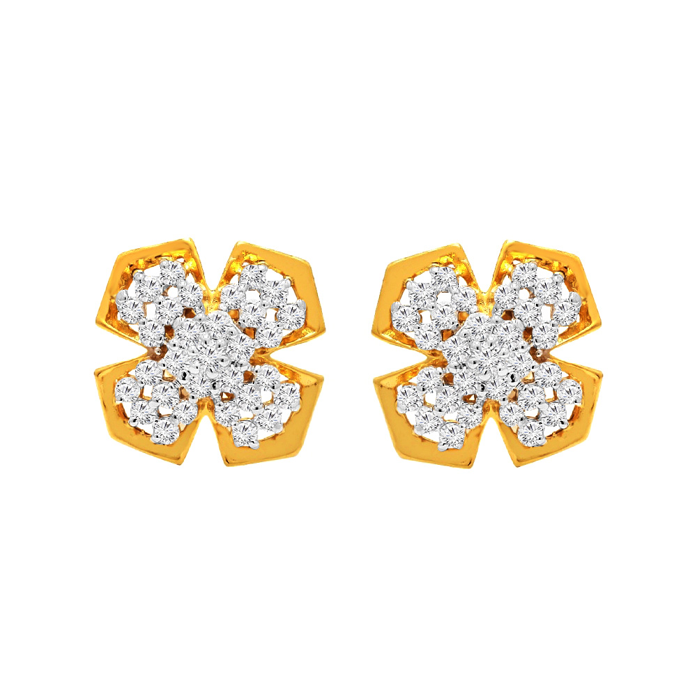 Floral Casual Wear Yellow Gold 14kt Earrings-397-T28
