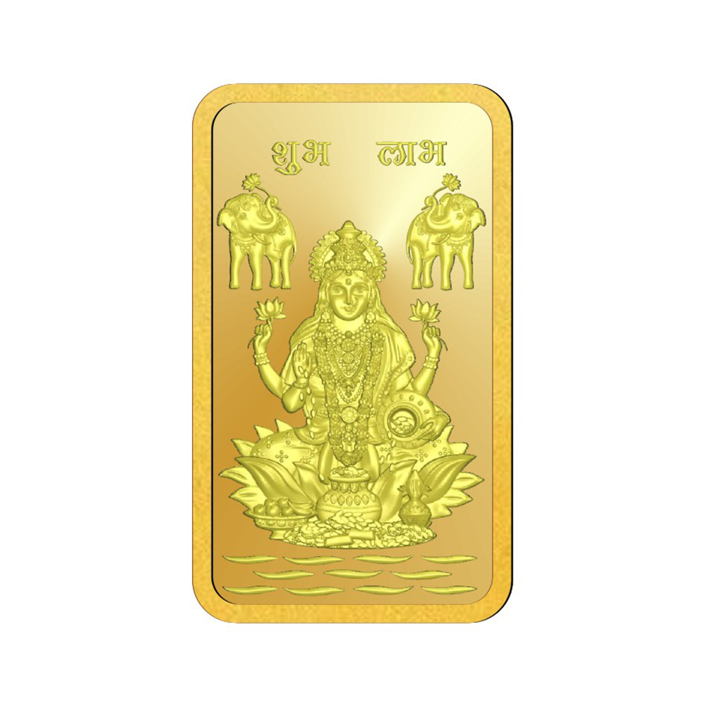1 Gram 916 Purity Goddess Lakshmi Gold Bar - 398-OMPL1GLB916