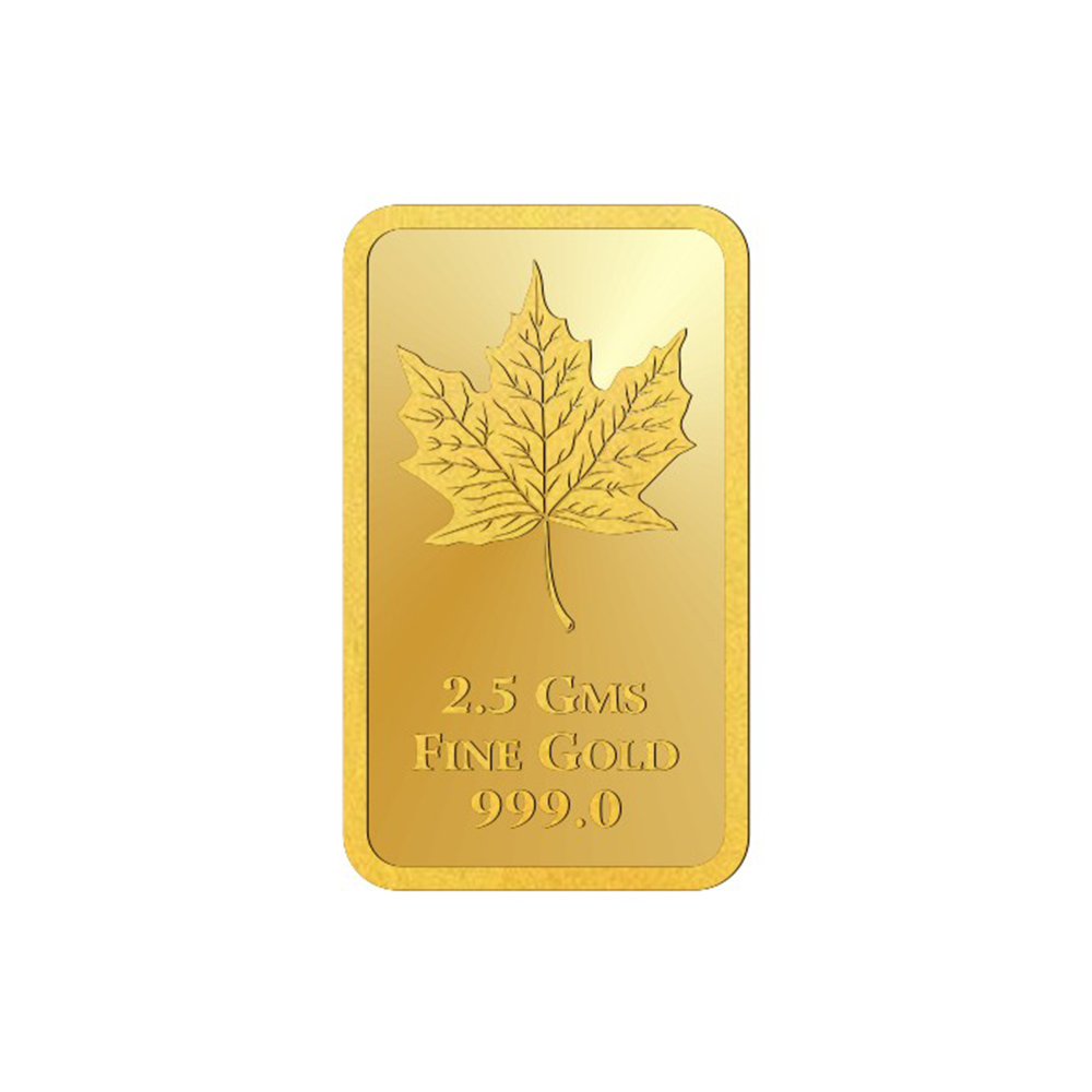 2.5 Grams 999 Purity Maple Leaf Yellow Gold Bar-398-OMPL2_5GB