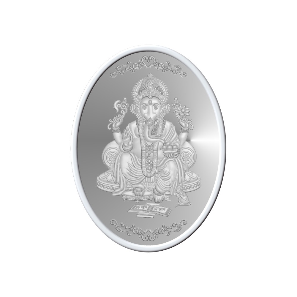 50 Grams 999 Purity Lord Ganesh Oval White Silver Coin-398-OMPL50OVAL3
