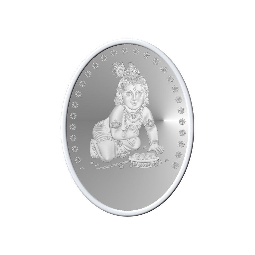 50 Grams 999 Purity Gopal Krishna Oval White Silver Coin-398-OMPL50OVAL4