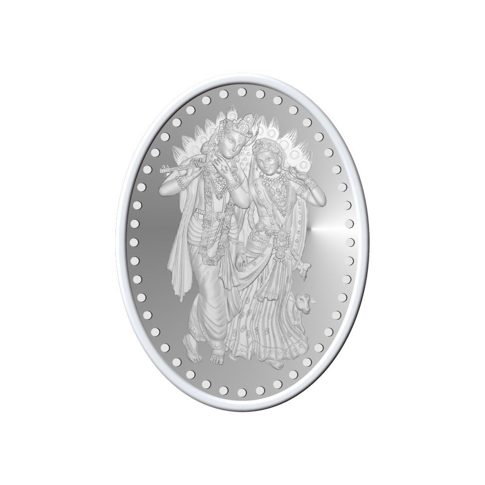 50 Grams 999 Purity Lord Radha Krishna Oval Silver Coin - 398-OMPL50OVAL5