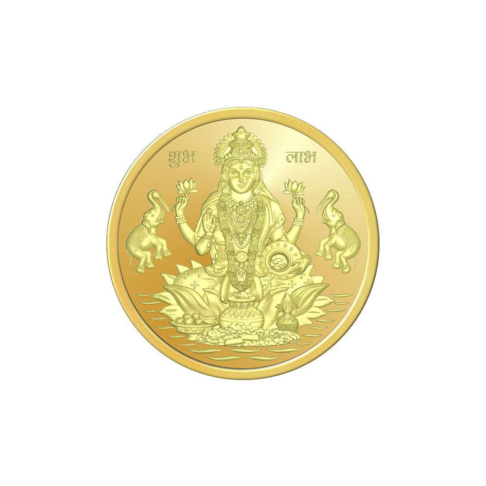 8 Grams 916 Purity Lord Laxmi Yellow Gold Coin-398-OMPL8LGC916