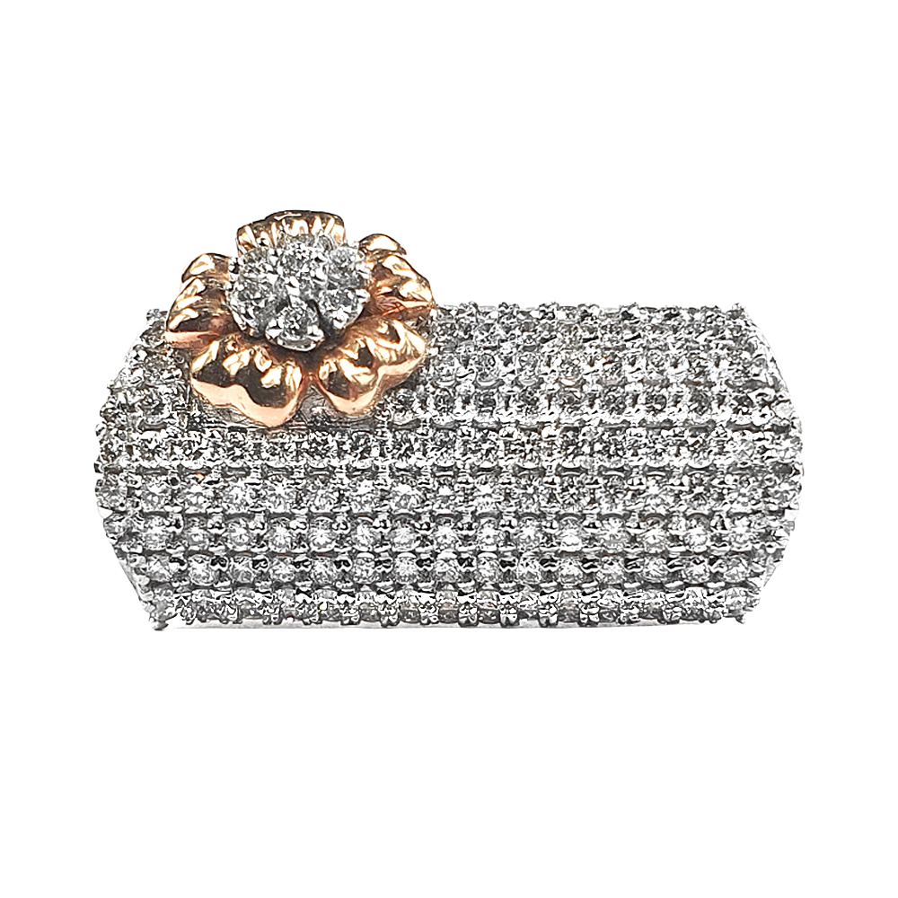 Sparkling Two Tone Gold 14kt Diamond Ring-D10825C