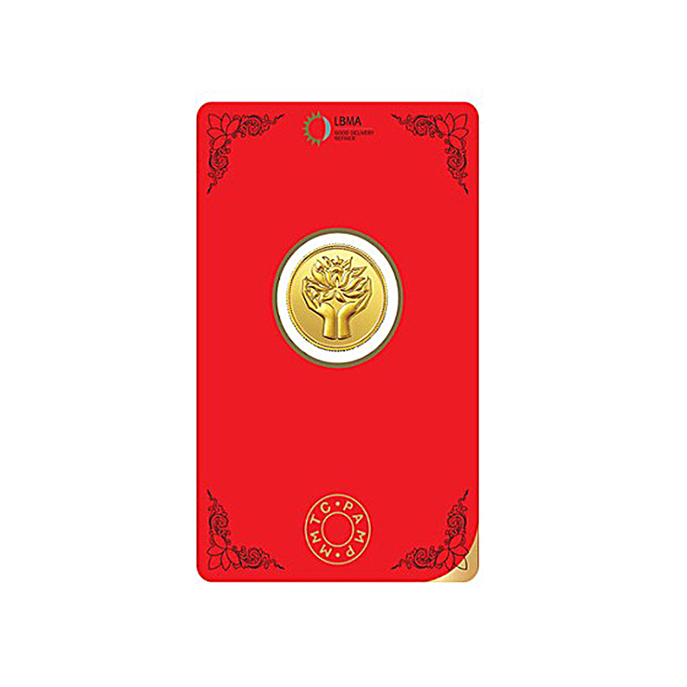 4 Grams 999 Purity MMTC PAMP Lotus Yellow Gold Coin-409-MPLG4
