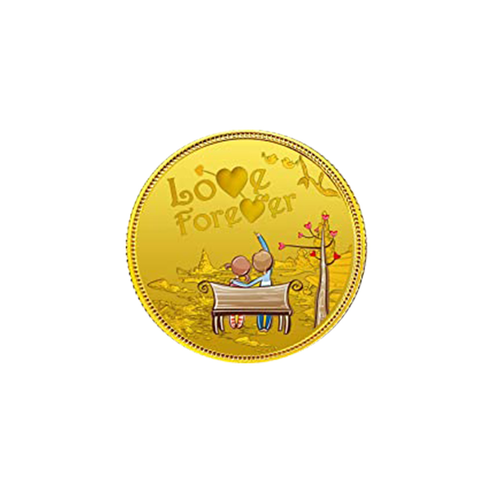 5 Grams Purity 24kt MMTC PAMP Love Forever Message Inscribed Yellow Gold Coin-417-MMTCLOVEFOREVER05
