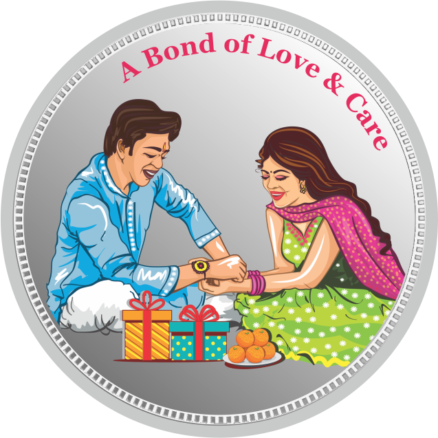 Silver 50 Grams Purity 999 Happy Rakshabandhan Message Inscribed White Silver Coin-419-50GMSRAKSHABANDHANCOIN999COICRAFT 50GMSRAKSHABANDHANCOIN999COICRAFT-1.png