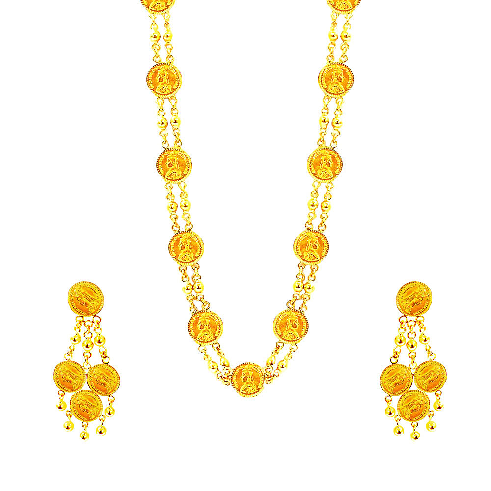 Gold Traditional Yellow Gold 22kt Necklace Set-W93GNS25 W93GNS25-1.jpg
