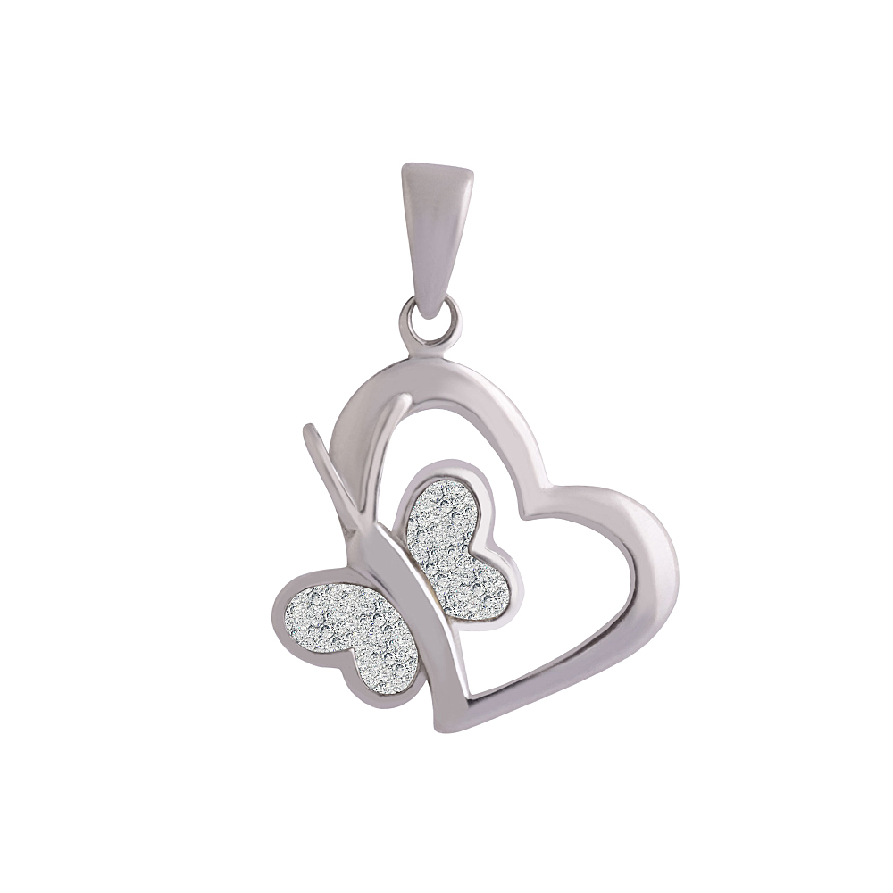 Silver Attractive Butterfly Heart 925 White Silver CZ Pendant-435-PD188 PD188-1.jpg