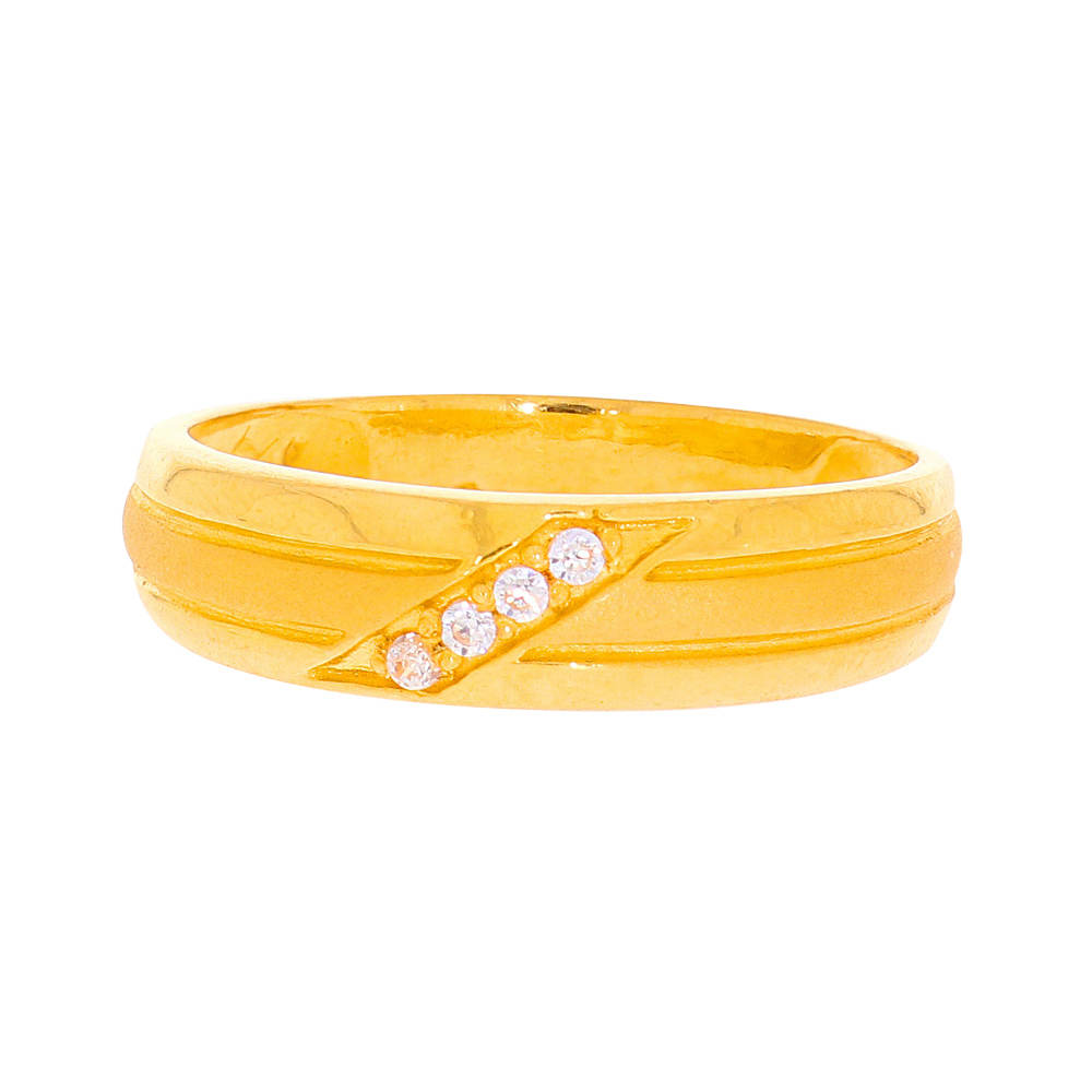 Cubic Zirconia - CZ Rings Glossy Finish Grooved Design CZ Studded Ring 5668-2.jpg
