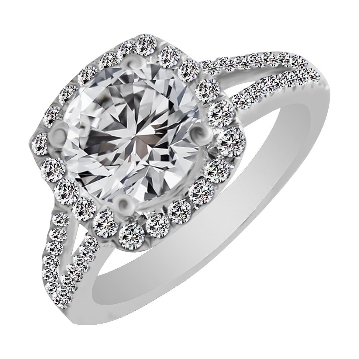 18kt White Gold Flush Prong Set Cluster With Solitaire Diamond Square Ring-5APCA