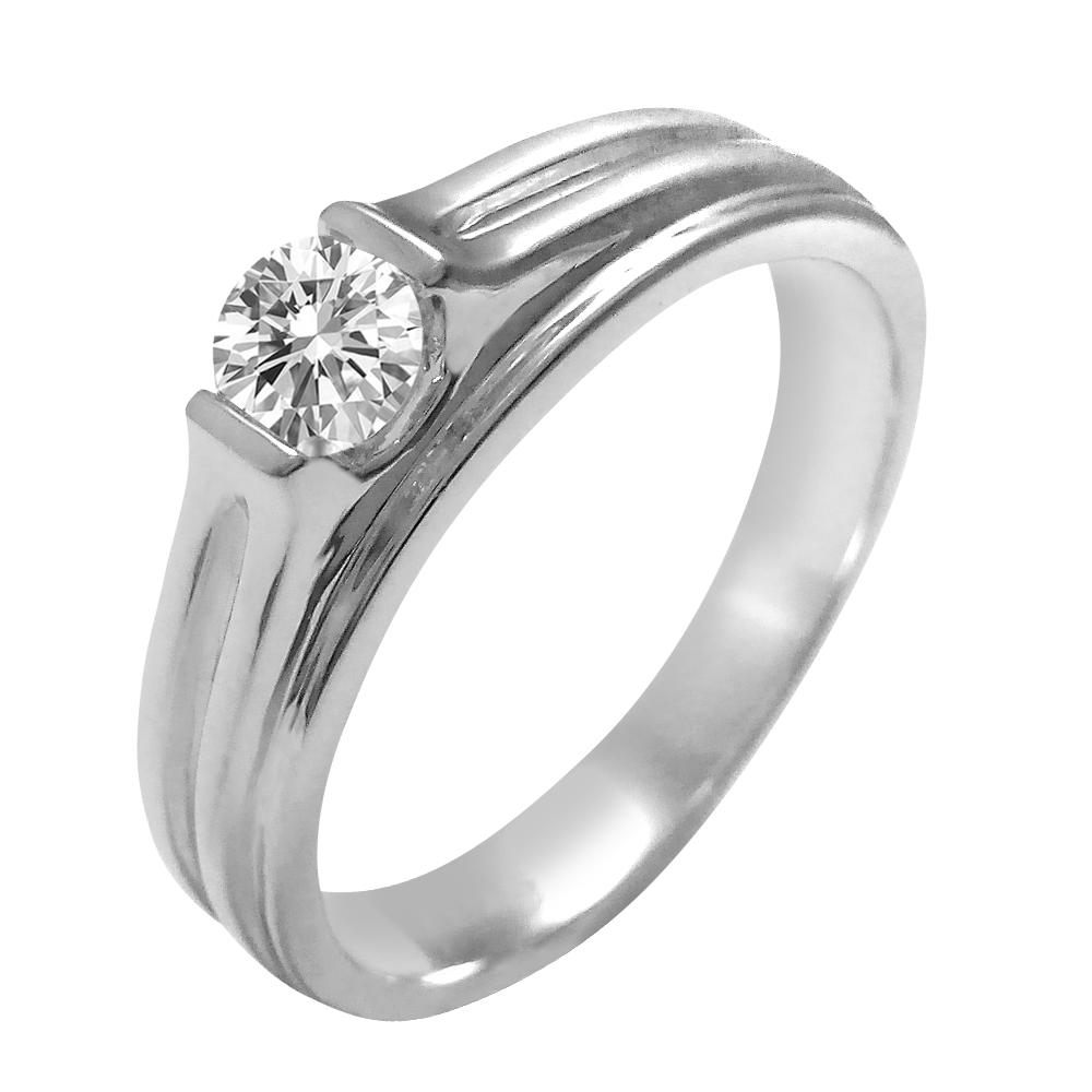 18kt White Gold Channel Set Solitaire Diamond Mens Ring-5GDF9