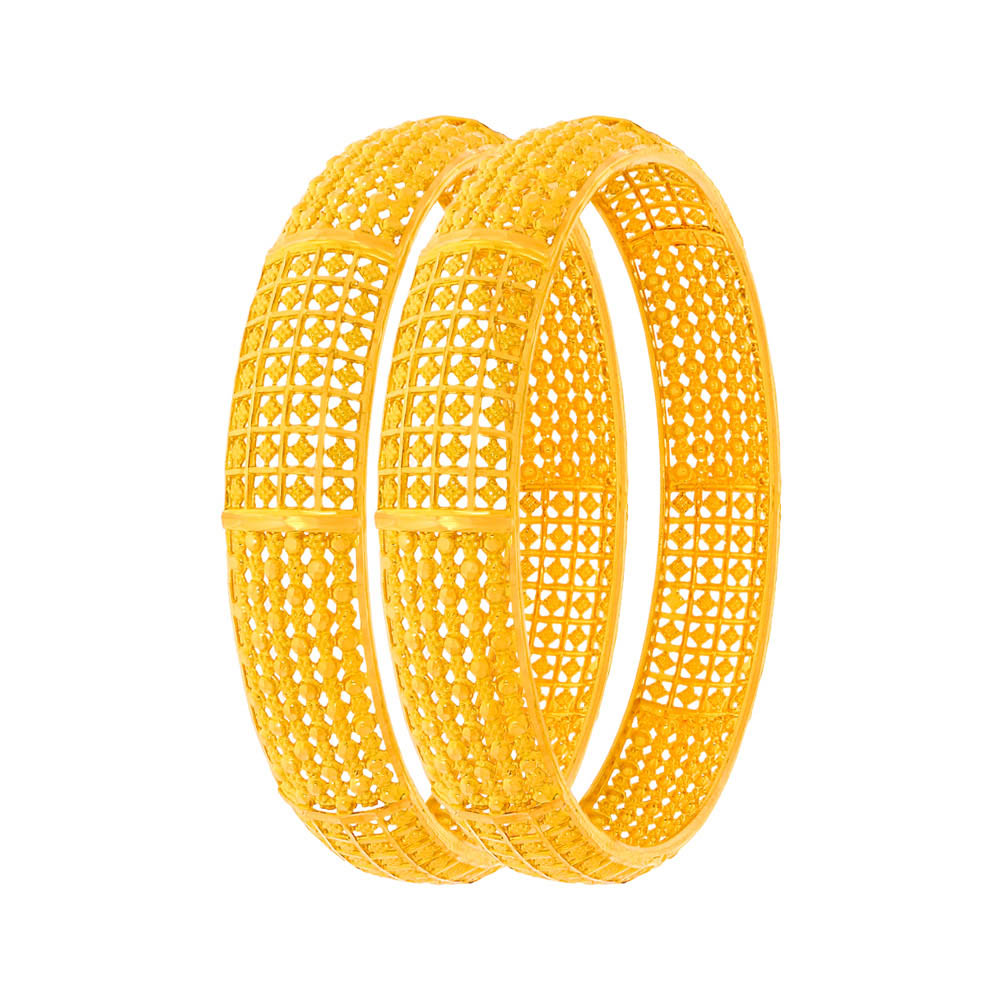Gold Traditional Embossed Cutout Gold Bangle (Set Of Two) 6298-1.jpg