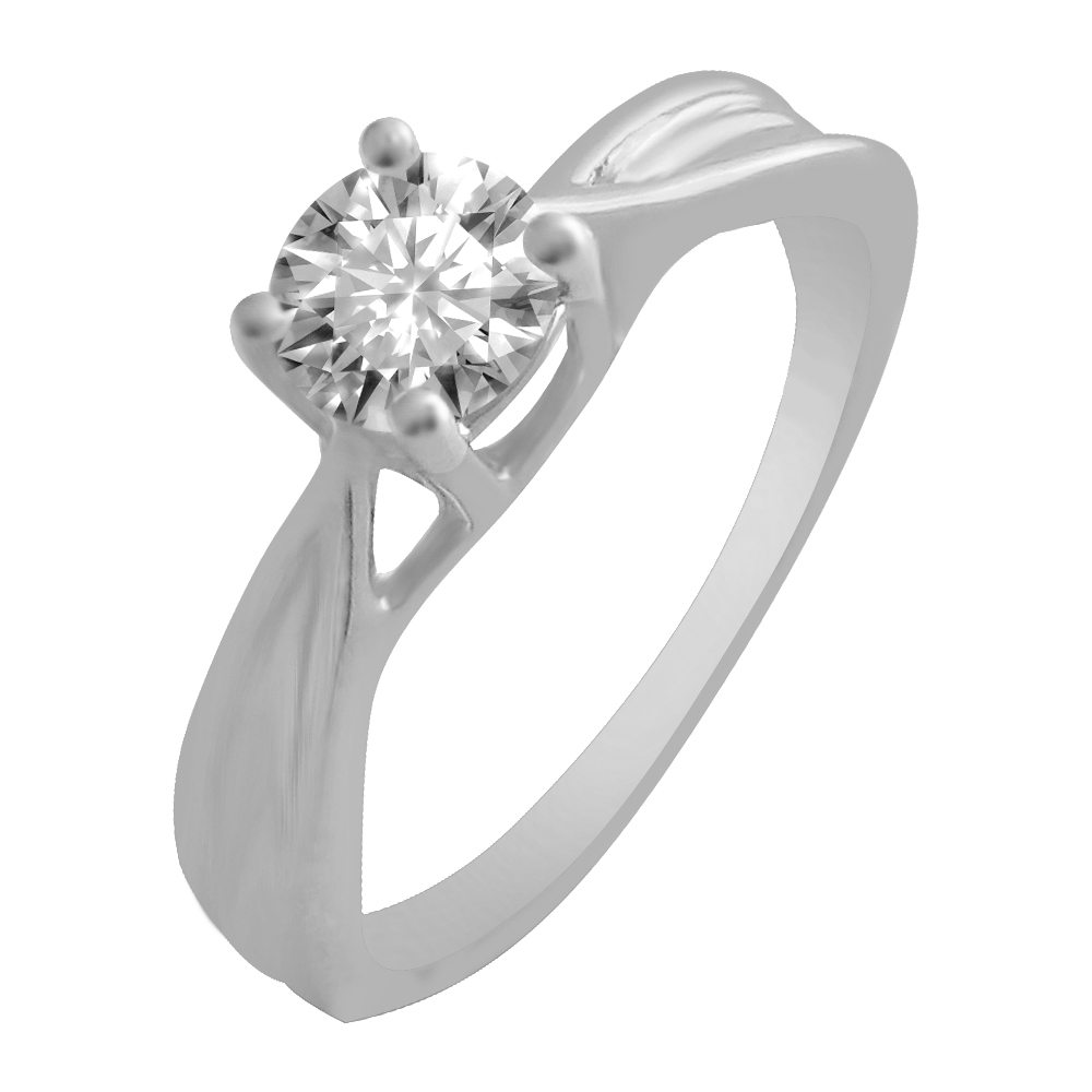 18kt White Gold Four Prong Set Solitaire Diamond Ring-6FD1I