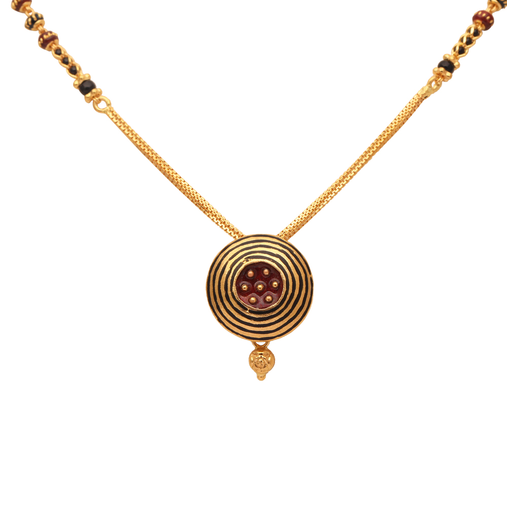 Circle Pendant With Meena And Black Beads Gold Mangal Sutra-70111206