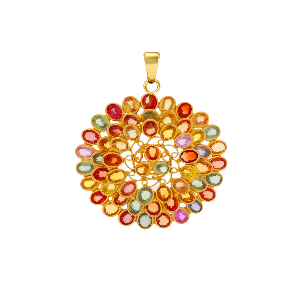 Blooming Synthetic Multicolour Gemstone Floral Gold Pendant