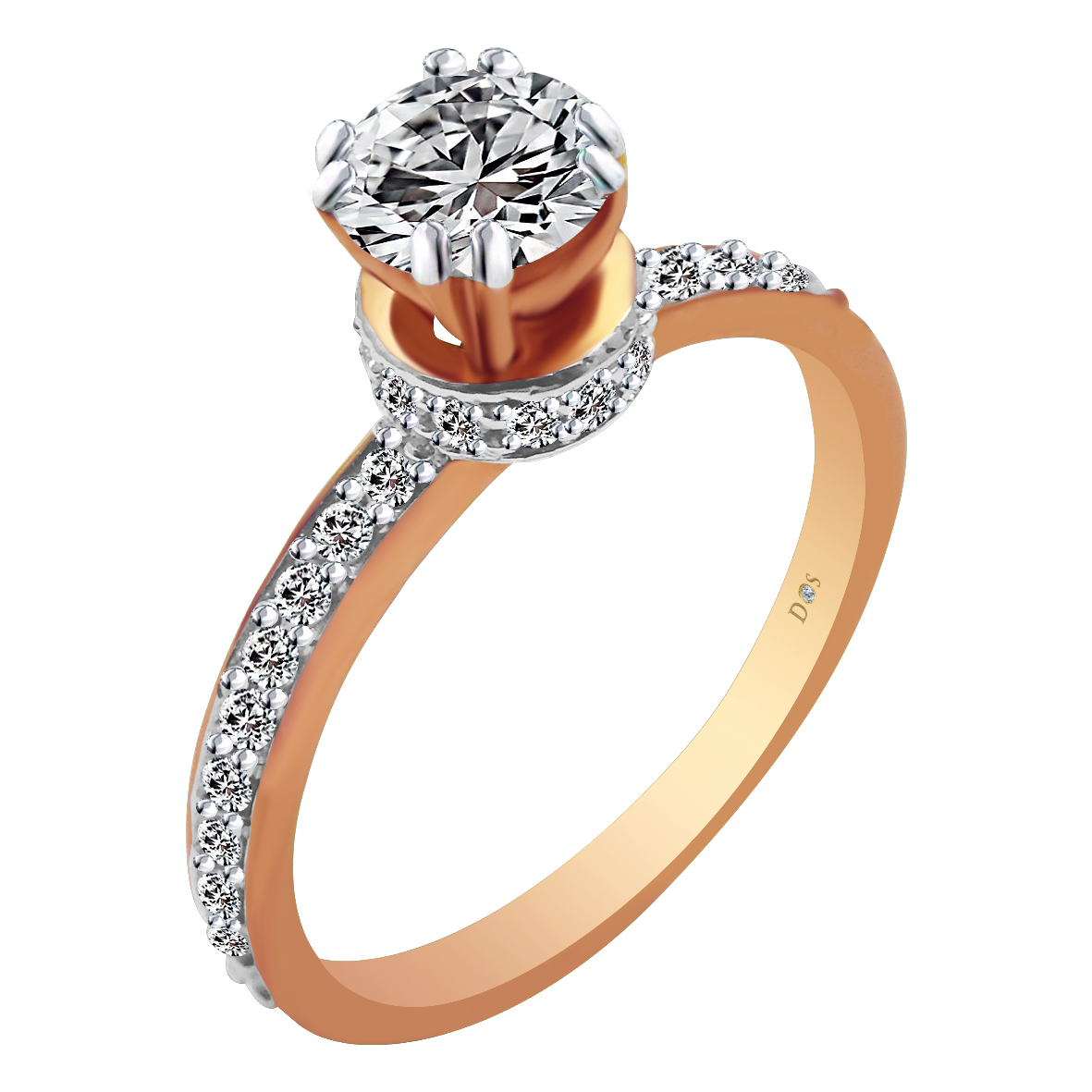 18kt Rose Gold Pave Prong Set Cluster With Solitaire Diamond Crown Ring-8LI31