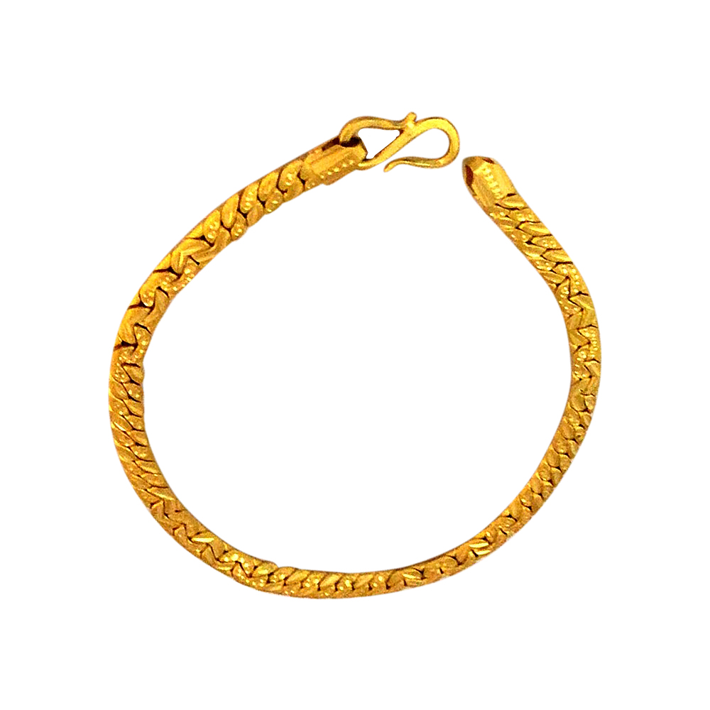 Traditional Textured Daily Wear Yellow Gold 22kt Chain Bracelet For Him-85-BTEJ10018