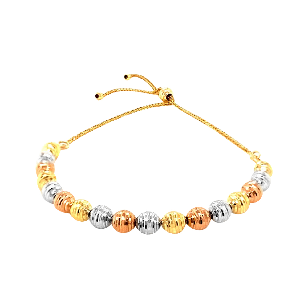 Elite Engraved Three Tone Gold 18kt Bead Bracelet-BTEJ100202