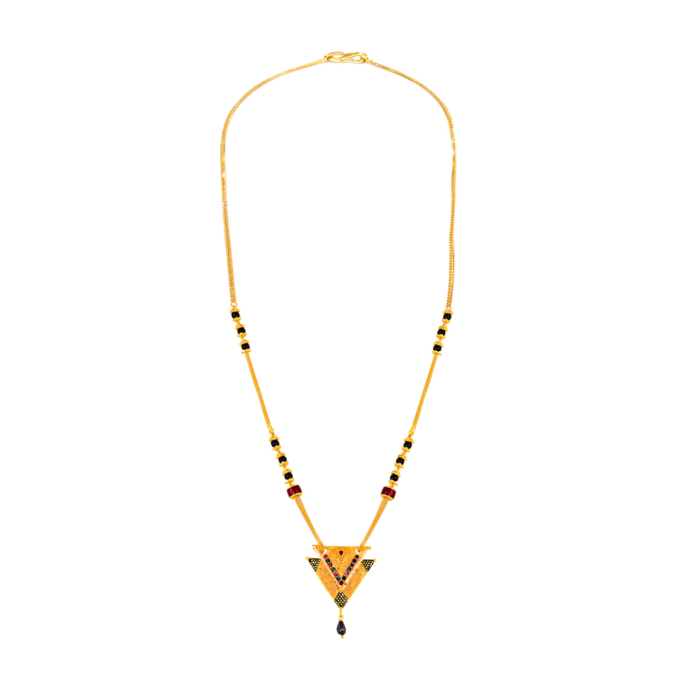 Traditional Casual Wear Yellow Gold 22kt Mangalsutra-MSEJ100137
