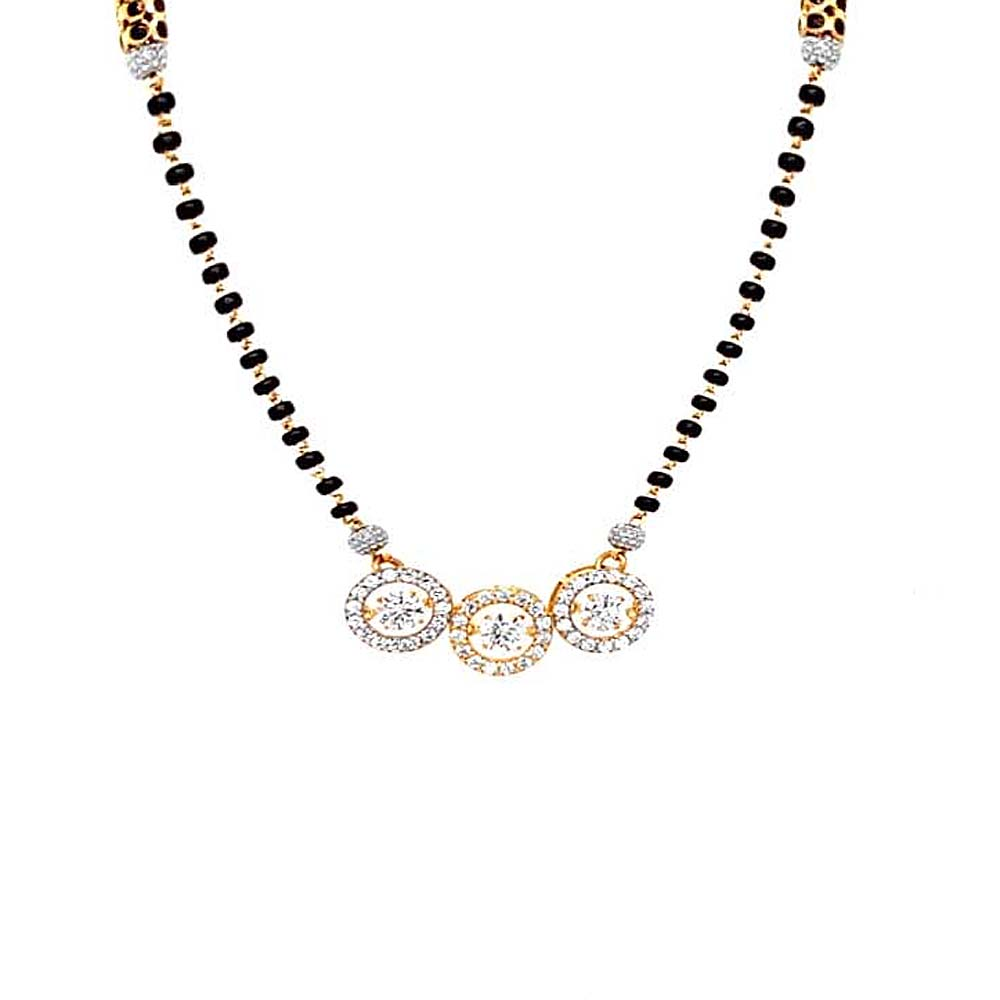 Sparkling Engraved Yellow Gold 22kt CZ Diamond Mangalsutra-MSOEJ100239
