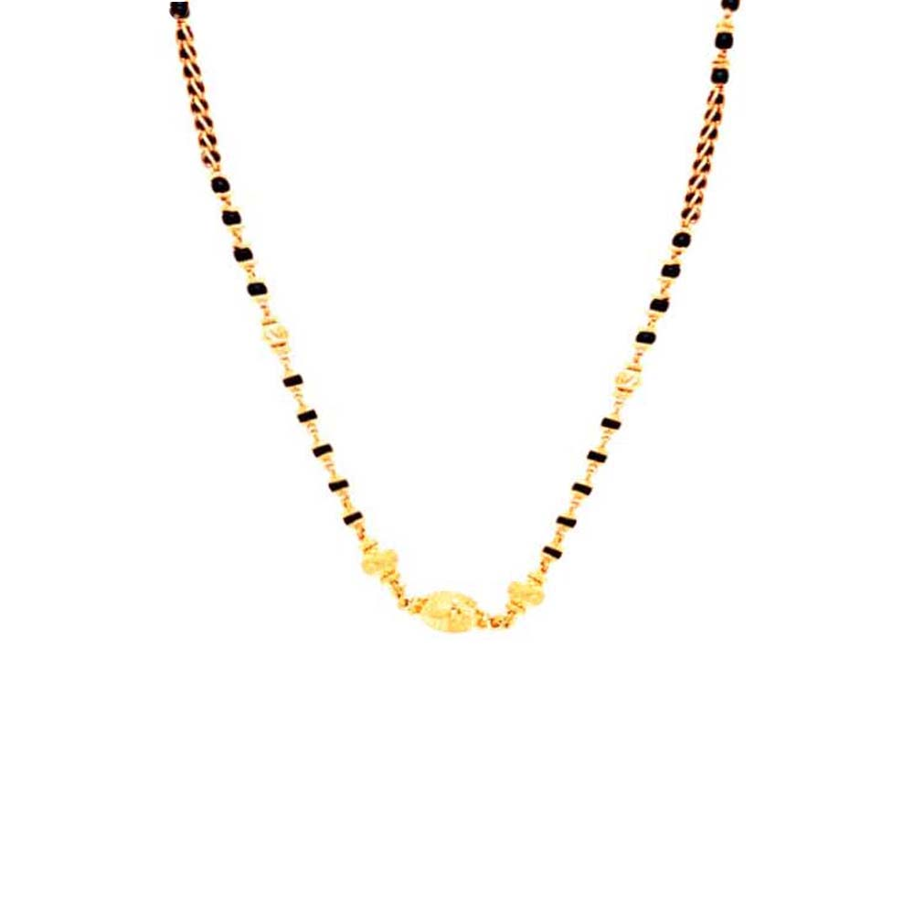 Traditional Black Bead Yellow Gold 22kt Mangalsutra-MSOEJ100248