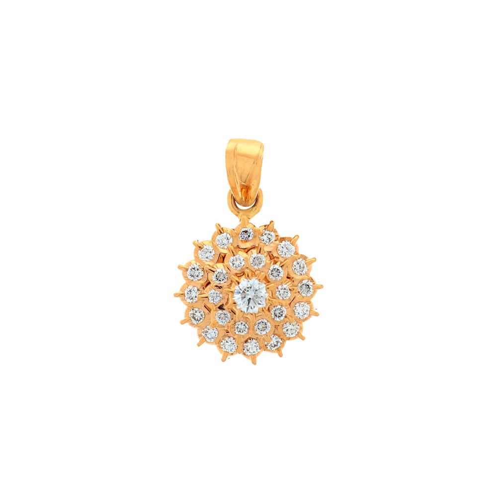Blooming Floral Diamond Gold Pendant