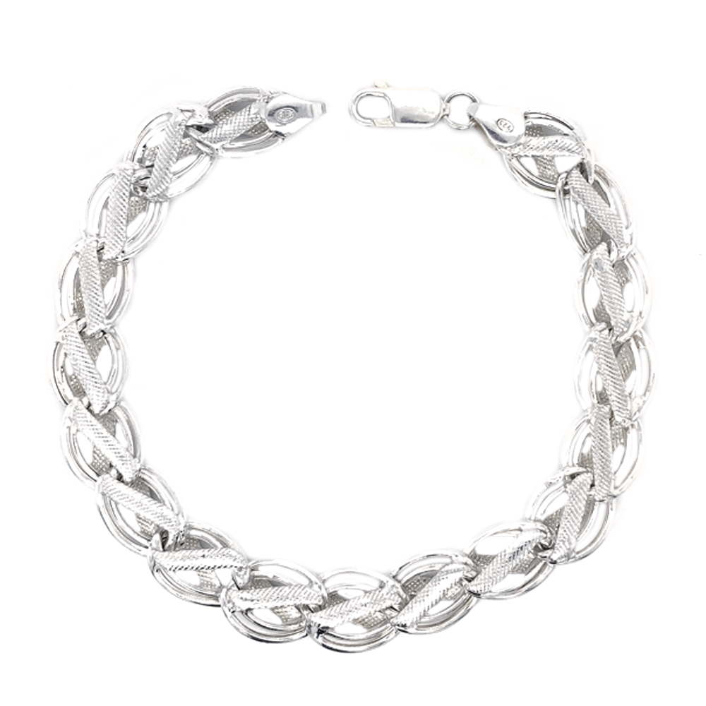Glossy Finish Flat Curb Linked Chain Design Silver Bracelet