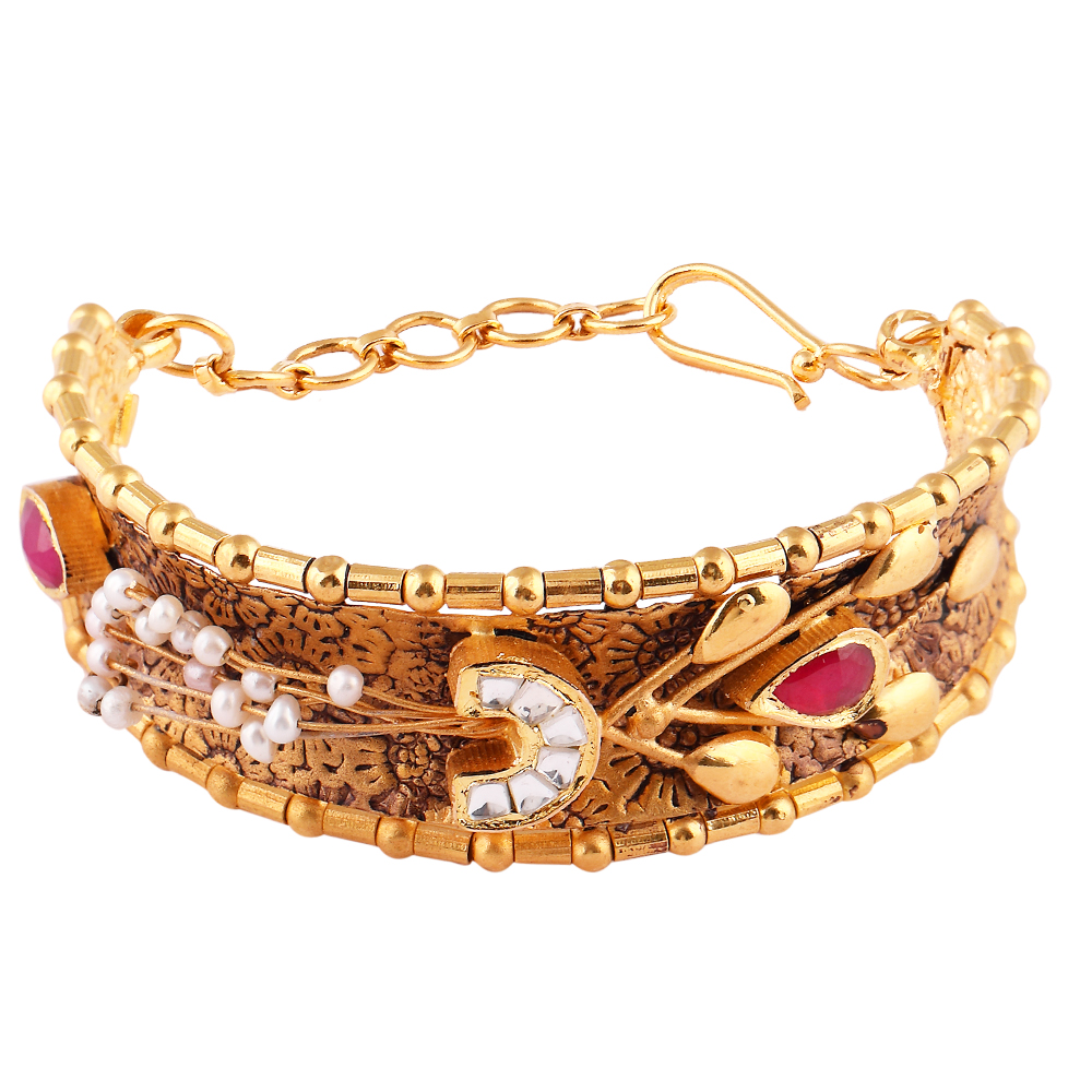 Glossy Antique Finish Pearl With Red And Kundan Stone Studded Embossed Design Gold Bangles - AK28