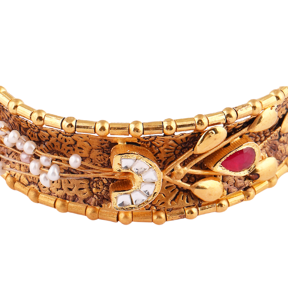 Kundan Bangles Glossy Antique Finish Pearl With Red And Kundan Stone Studded Embossed Design Gold Bangles  AK28_2.JPG