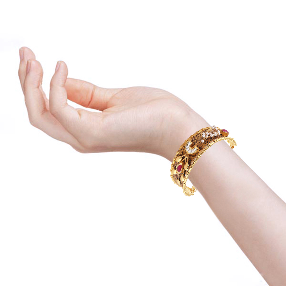 Kundan Bangles Glossy Antique Finish Pearl With Red And Kundan Stone Studded Embossed Design Gold Bangles  AK28_4.jpg