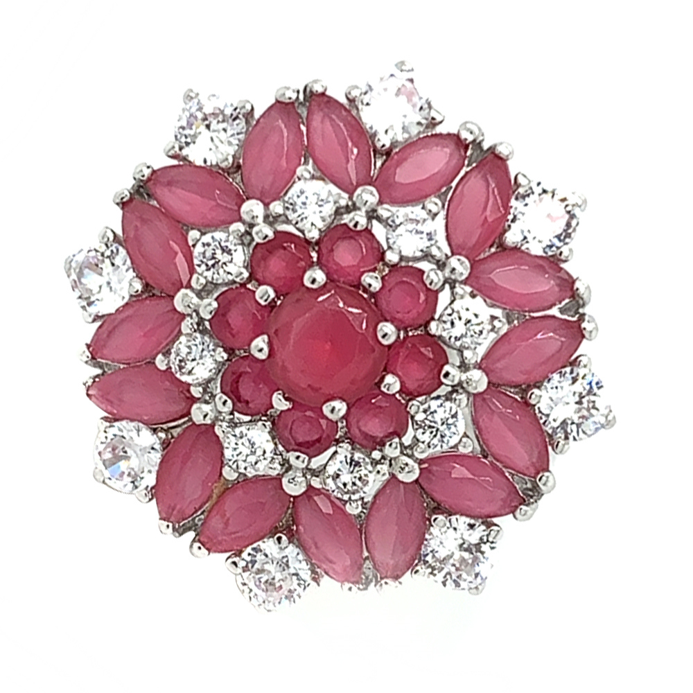 Glossy Finish Floral Design Synthetic Ruby With CZ Studded Silver Ring