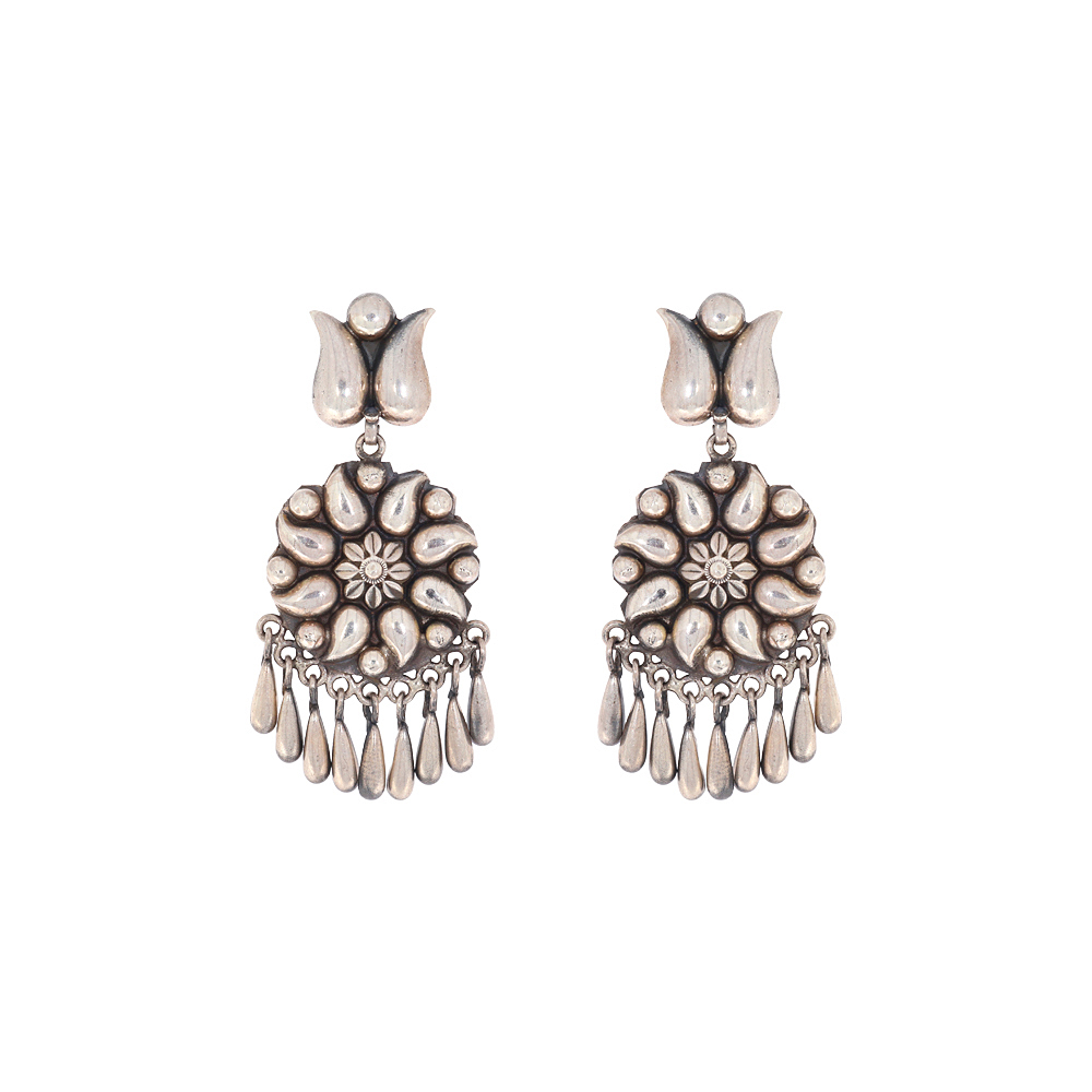 Silver Traditional Antique Paisely Diamond Earrings ASER5-1.jpg