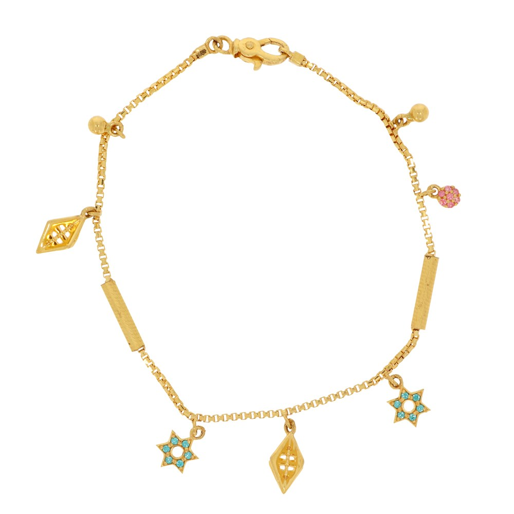 Matte Finish Charm Design Studded With Synthetic Color Stone Gold Bracelet-BCL6726