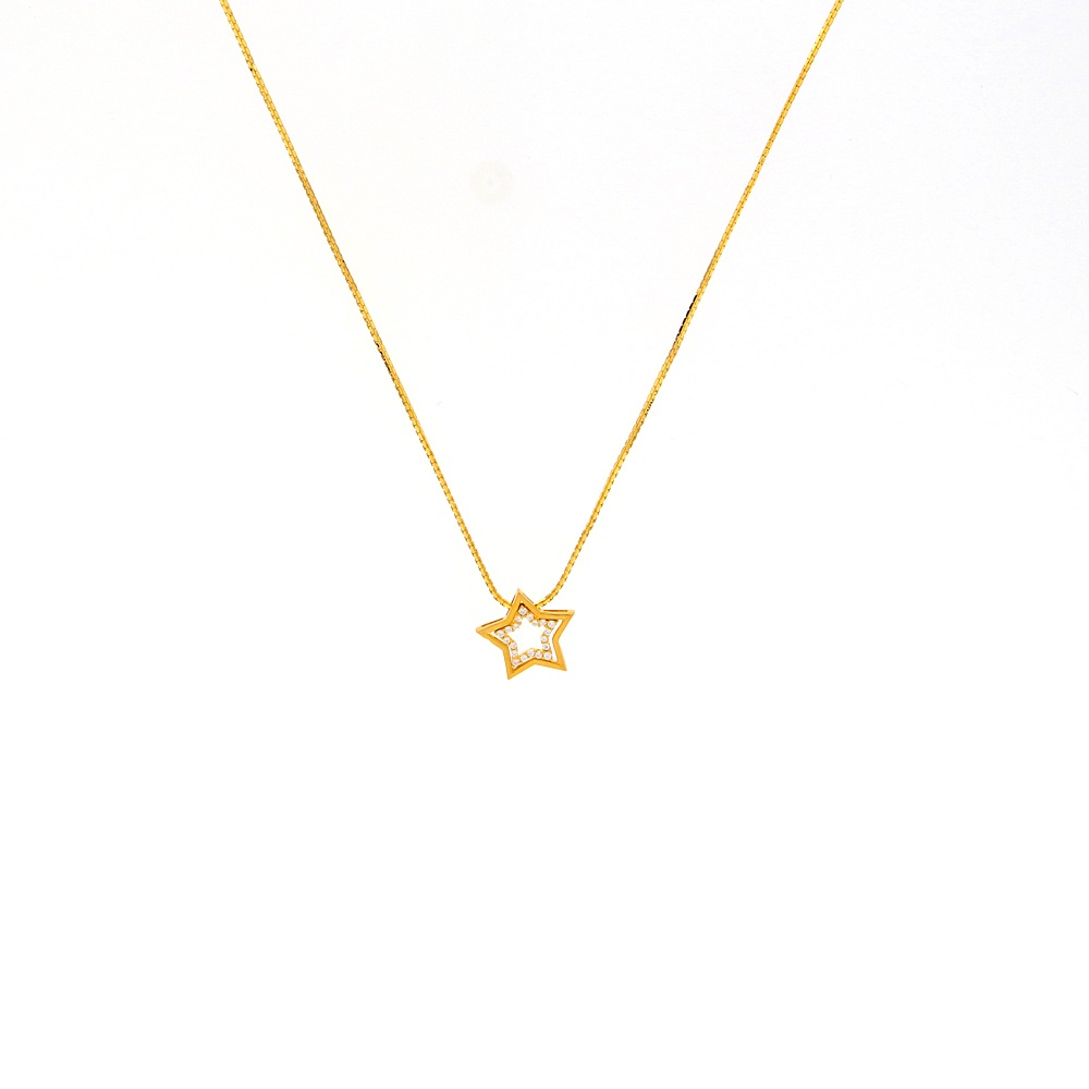 Gold Glossy Finish Star Design Pendant Studded With CZ Gold Box Chain-CH1476 CH1476-1.jpg
