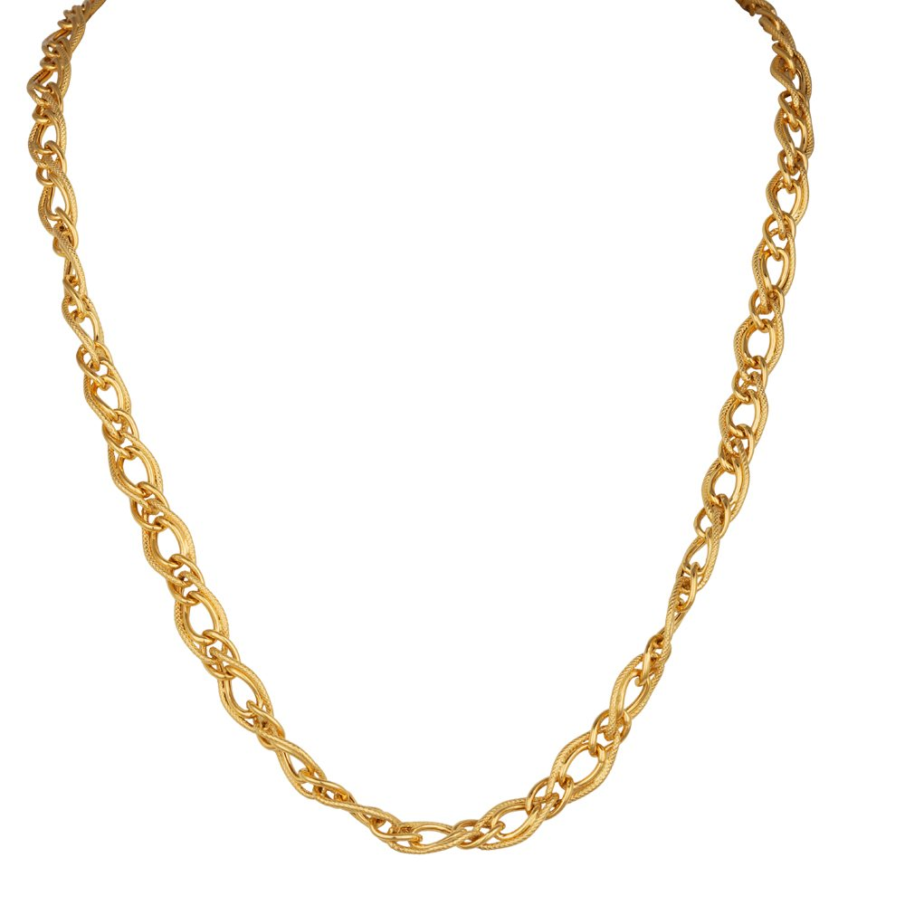Gold Tiwsted Curb Linked Gold Chain-CH22-250 CH22-250_1.jpg