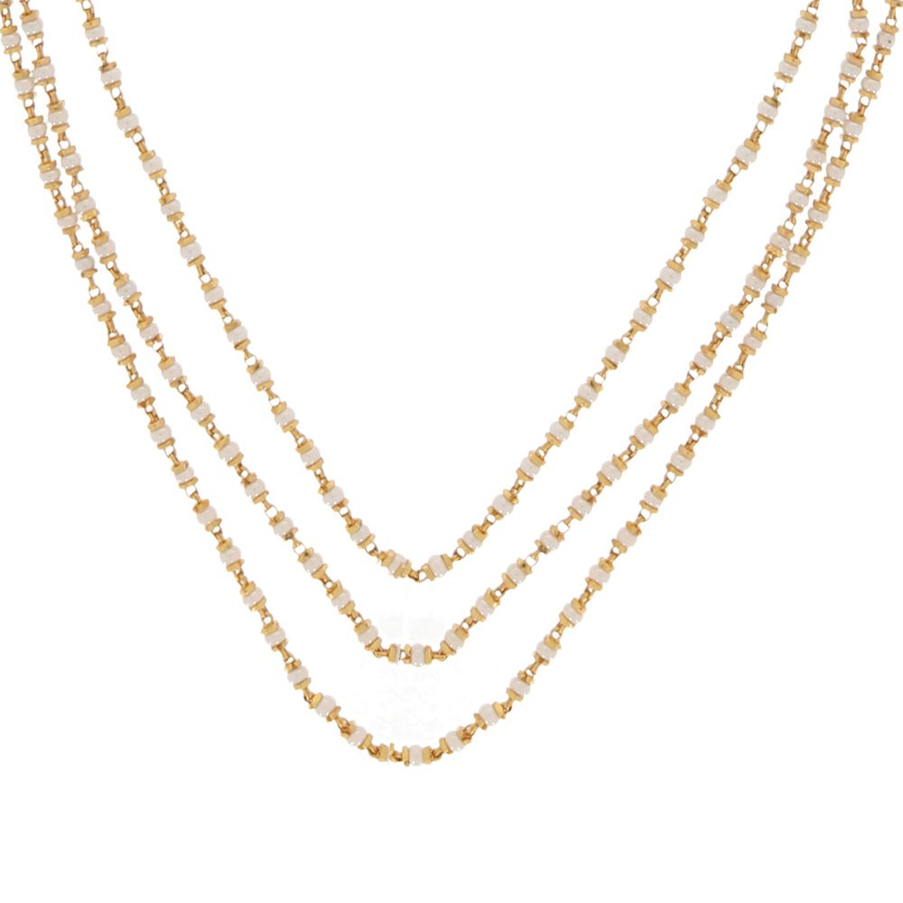 Gemstone Glossy Finish Three Layered With Synthetic White Stone Linked Gold Chain-CHN15349 CHN15349-1.jpg