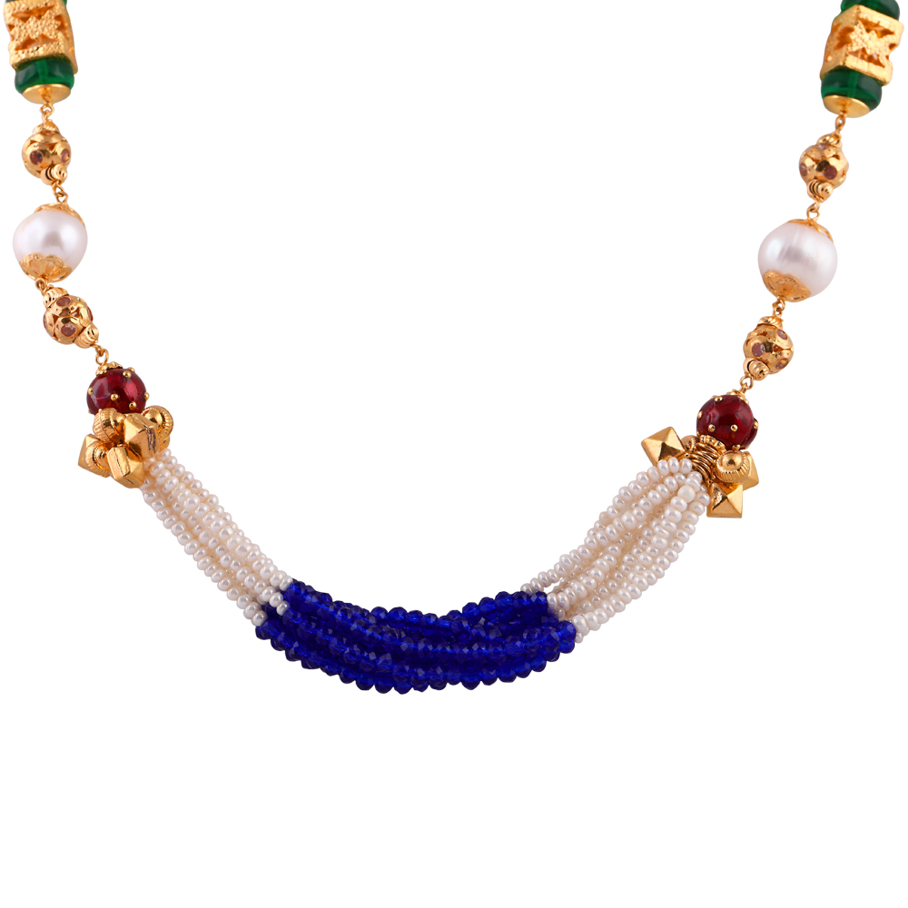 Gemstone Chains Elegant Synthetic Blue Sapphire Emerald With Ruby Multilayer Pearl String  CHN343_2.jpg