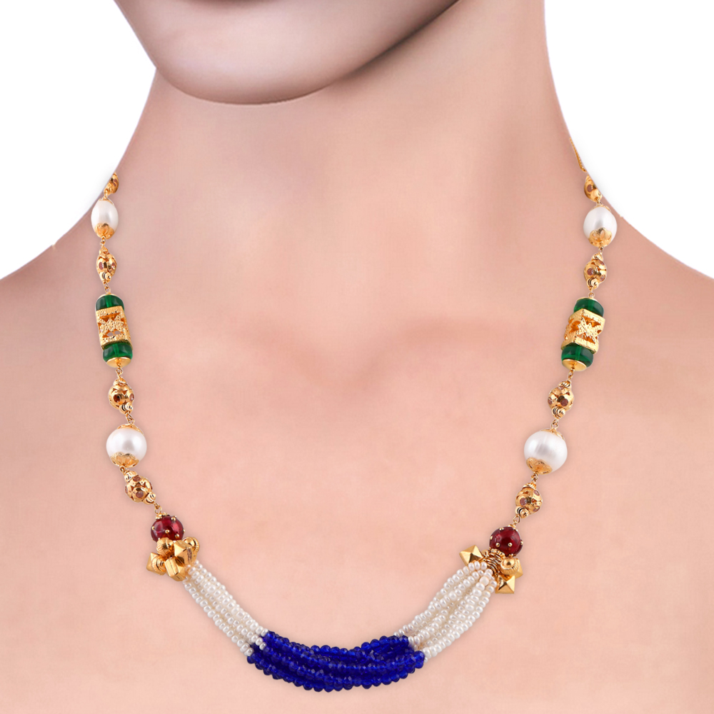 Gemstone Chains Elegant Synthetic Blue Sapphire Emerald With Ruby Multilayer Pearl String  CHN343_4.jpg