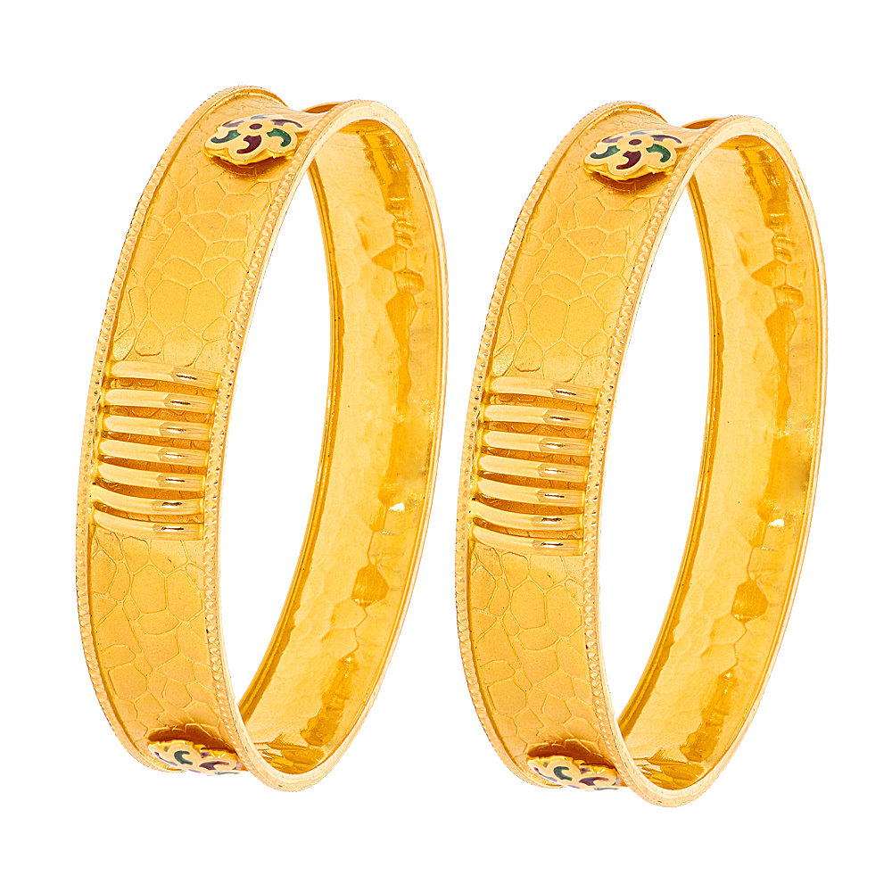 Gold Traditional Textured Enamel Floral Gold Bangle (Set Of Two)                                                                                                                                                                                                     CHU1467-1_2.jpg