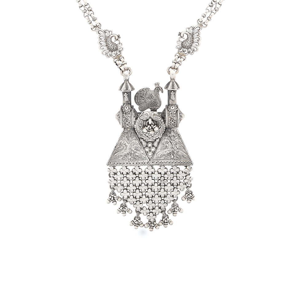 Silver Glossy Oxidized Finish Embossed Peacock Floral Design Silver Necklace CLS0027-1.jpg