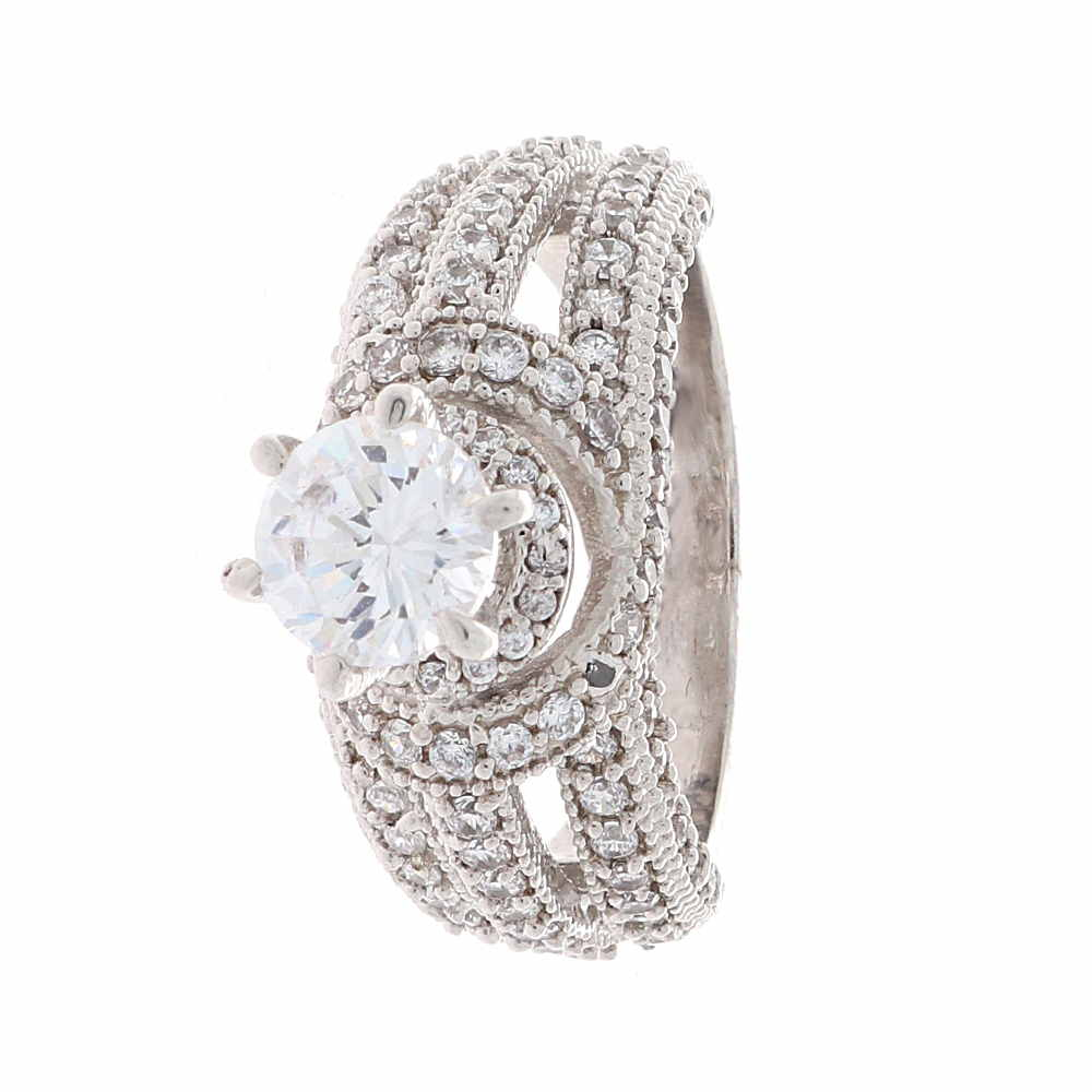 Cubic Zirconia - CZ Glossy Finish Multiple CZ Studded Design Silver Ring CLS0053-1.jpg