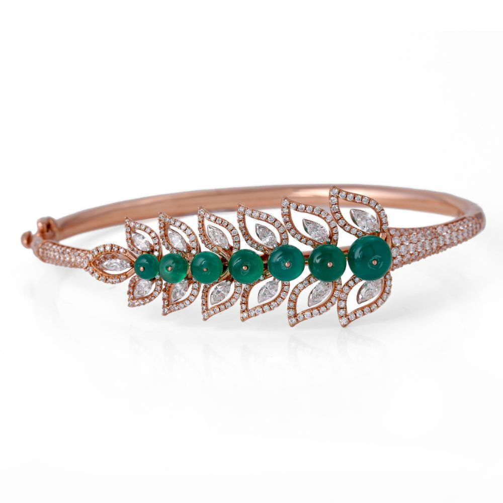 Gemstone Sparkling Pave Prong Set Scintillating Design Studded With Synthetic Emerald Bead Diamond Bracelet CST-1962-BR-1.jpg