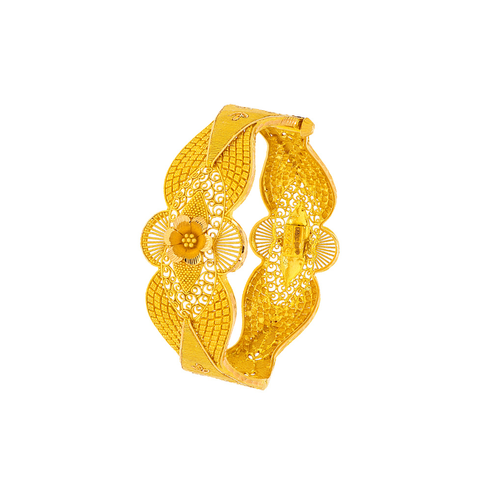 Gold Traditional Filigree Embossed Floral Gold cuff bangle CU00547-1.jpg