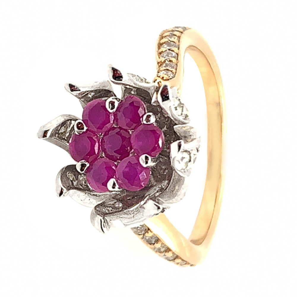 Sparkling Floral Design Studded With Synthetic Pink Stone Diamond Ring