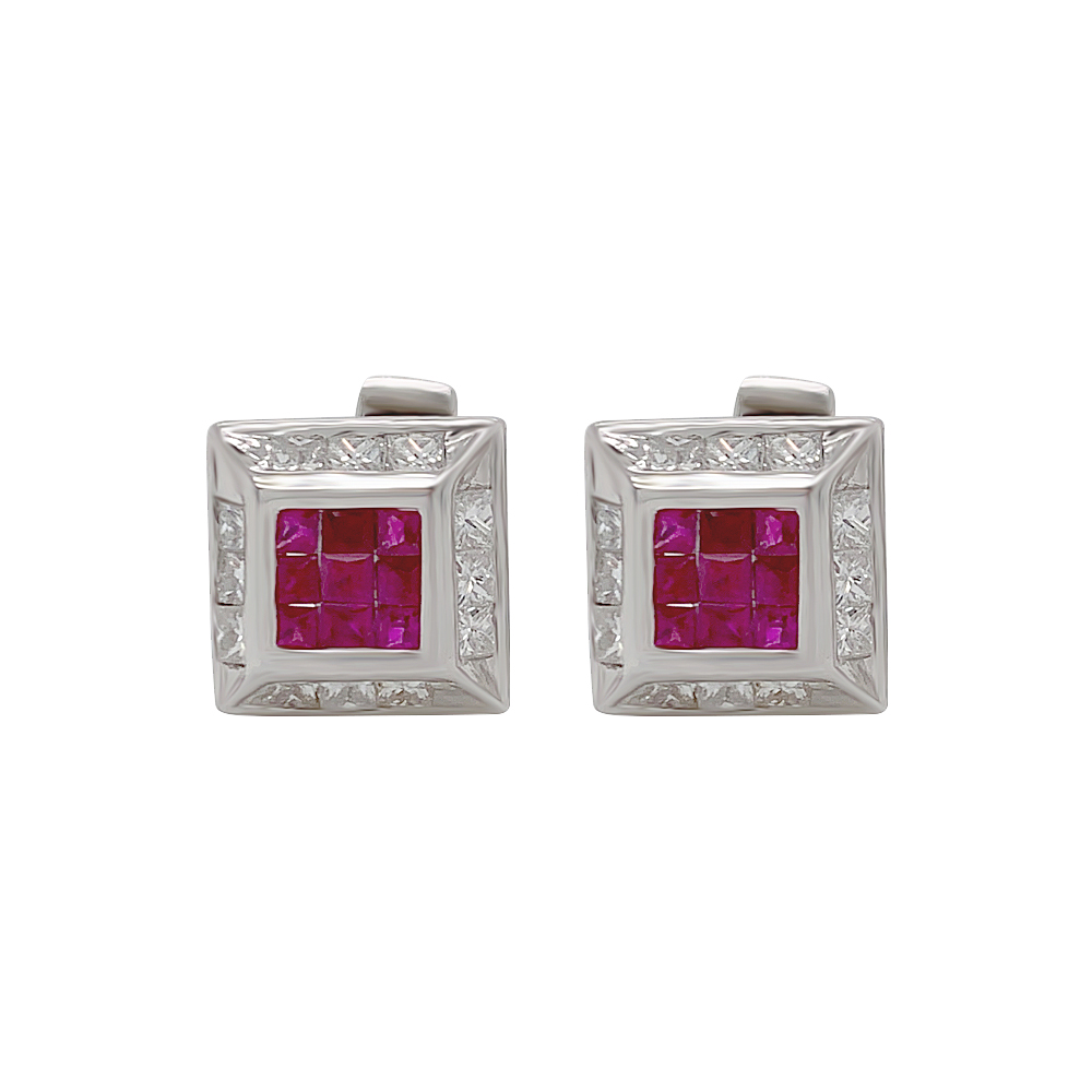 Glittering Square Gemstone Diamond Cufflink