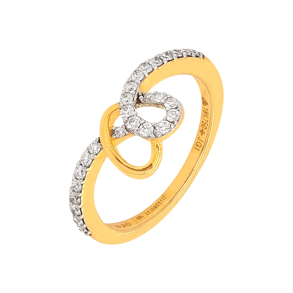 Elegant Interwind Heart Diamond Ring